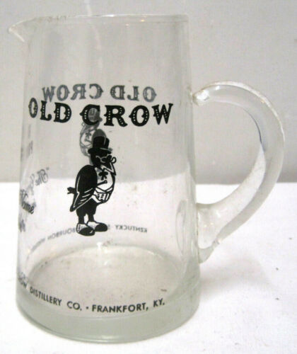 """Vintage Crow Bourbon Glass """"The Greatest Name in Bourbon"""" Small 5 1/2"""" Pitcher"""