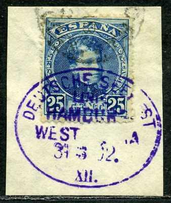 Seepost Linie Hamburg-Westafrika XII  in violett  Briefstück