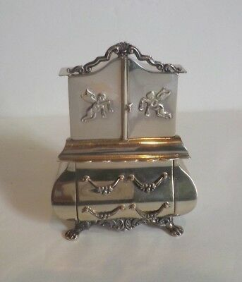 Vintage Dutch .833 Silver Miniature Doll House ARMOIRE. Embossed Cherubs