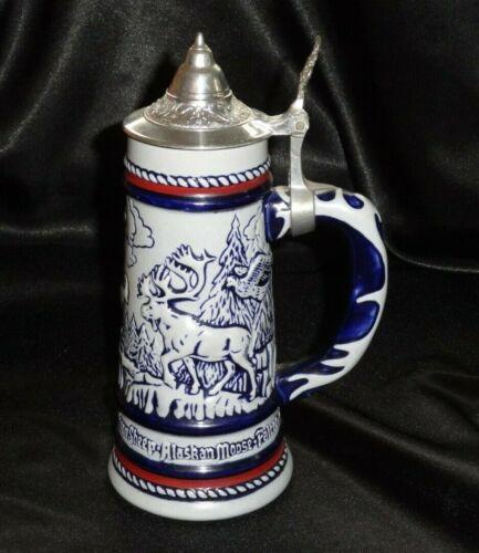 Vintage AVON 1976 Lidded ALASKAN ROCKY WILD MOUNTAIN ANIMAL Beer Stein TANKARD