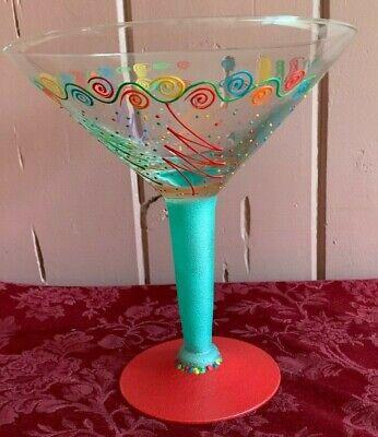 Huge Hand Decorated  Oversized MARTINI Margarita GLASS 10