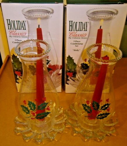 Indiana Glass Holiday Classics Two 3 Piece Holly Candlelamp Set