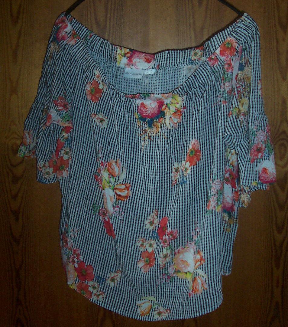 Top shirt damen amy vermont schwarz weiß geblumt schulterfrei 46