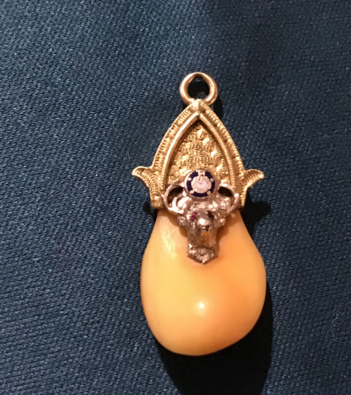 Vintage 14k Gold Elks Tooth Lodge Fob/ Pendant (2.7 gr) Marked 14K, Ruby Eyes