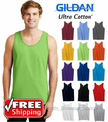 Gildan Tank Top Ultra Cotton Mens Workout Fitness Shirt Solid Color Plain 2200 Gildan Ultra Cotton Tank Top