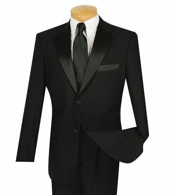 LUCCI Men's Black Classic Fit Formal Tuxedo Suit w/ Sateen Lapel & Trim (Classic Notch Tuxedo)