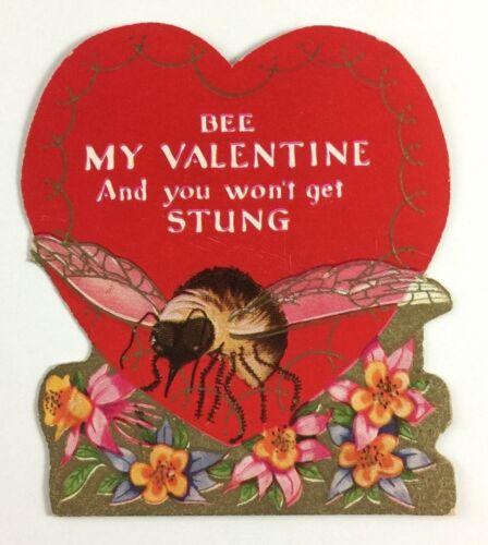 Vintage Embossed Valentines Day Greeting Card Bee My Valentine Heart Flowers