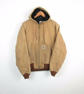 Mens CARHARTT Pale Beige Arctic QUILT Lined Active Hooded Workwear Jacket Medium