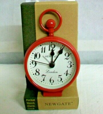 #CS-NG NEWGATE CLOCKS NEW RED CLASSIC REPLICA POCKET WATCH ALARM CLOCK with -