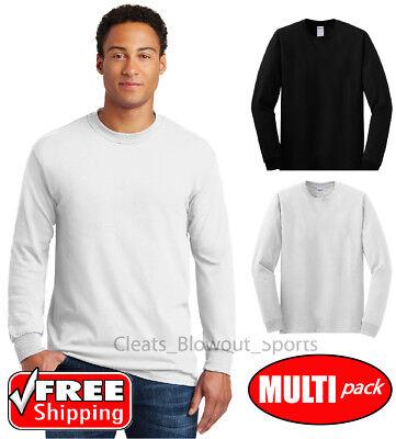 3-24 Pack Gildan Long Sleeve T-Shirt Cotton Undershirt Bulk Wholesale Lot - T Shirt Bulk