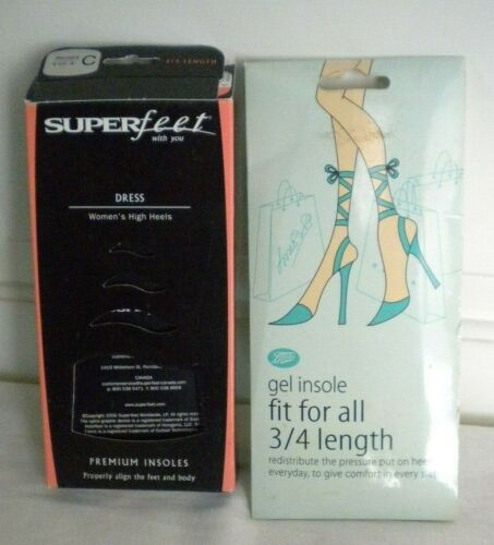 NEW 1 Pr of SUPERFEET Black Insoles Size 6.5 to 8 C & 1 Pr Gel Insoles by Boots