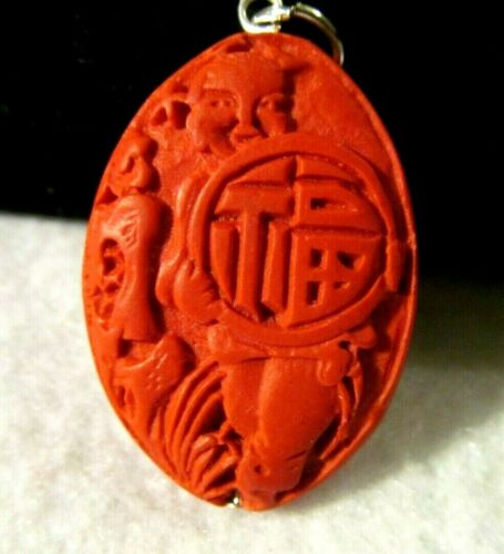 VINTAGE ANTIQUE INTAGLIO JAPANESE ZODIAC Hand Carved Genuine Cinnabar PENDANT