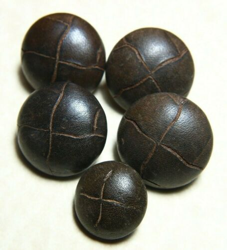 """Leather Buttons 3/4"""" & 1"""" Dark Brown Leather Shank BM """"United Carr Fastner Corp"""