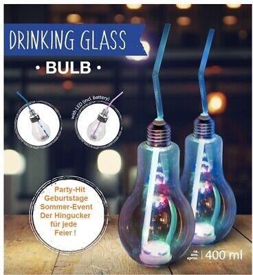 4 Kunststoff Trinkglas Party Zubehör 400 ml Glühlampe LED Gläser mit Trinkhalm ()
