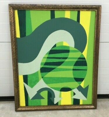 Vintage Abstract Shapes Geometric Painting Wall Hanging MCM Green Yellow (Sunglasses Painting)
