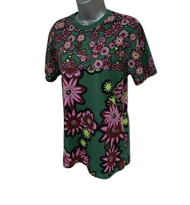 BNWT House of Holland GREEN & PINK Scattered Flower FLORAL LFW Tee UK size 12