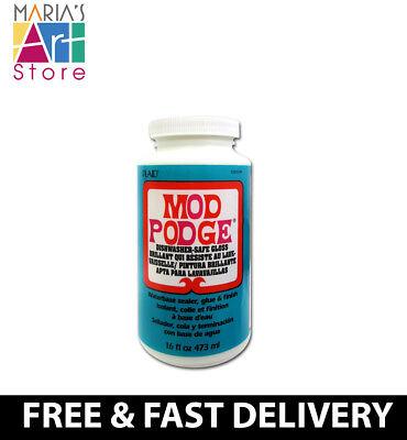 Mod Podge Dishwasher-Safe 16 Oz Glass Glue & Finish + 1'' Mod Podge Foam Brush (Mod Podge Glass)