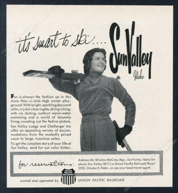 1958 Sun Valley ski area woman skier photo vintage print ad