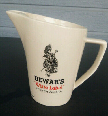 Vintage Dewar's White Label Scotch Whisky Water Pitcher Pub Jug 6 inches tall