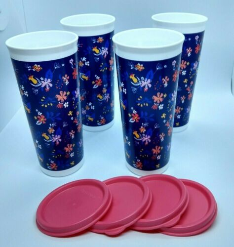 Tupperware 16 oz Falling for Floral Tumbler Set - NEW!