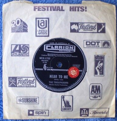 "THE TROUPADORS-NEAR TO ME/BIG BOAT ""RARE OZ PROMO"" 45 RPM"