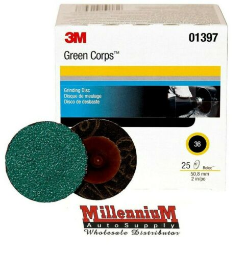 "3M Green Corps Roloc Grinding Discs, 2"" 36-Grit: 01397"