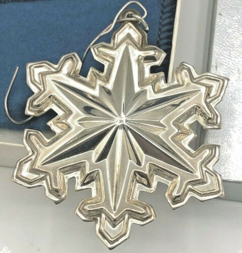 """Wallace 1990 Snowflake Sterling Ornament 2.5"""" With Box"""