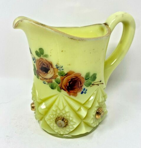 ANTIQUE JEFFERSON DIAMOND PEG  SMALL PITCHER WITH HAND PAINTED  ROSE