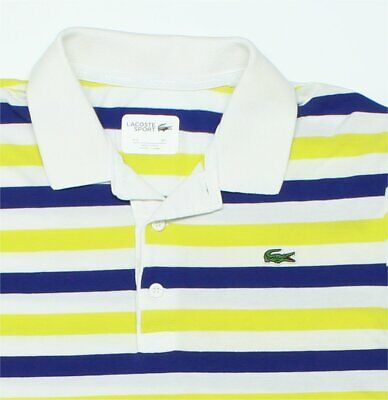 "Sz 5/Large Lacoste Sport Polo Shirt 42"" Chest Yellow/Blue/White Stripes"