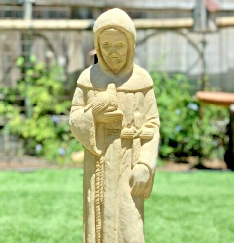 TALL VINTAGE SAINT FRANCIS STATUE Cement Concrete Catholic Garden Patio Lawn Art