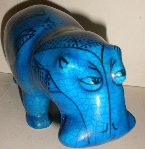 """Large 8"""" Metropolitan Museum of Art MMA William Blue Ceramic Hippo Hippopotamus"""