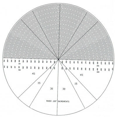Optical Comparator Chart Overlay Mylar Profile Projector