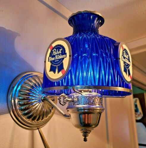 Vintage Pabst Blue Ribbon Beer Lighted Wall Sconce Embosograph Electric Light