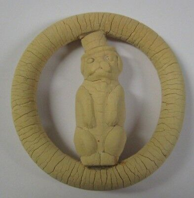 Vtg Ceramic Clay DOG IN TOP HAT Round Belt Buckle UNIQUE OOAK Costume Jewelry - Unique Dog Costumes