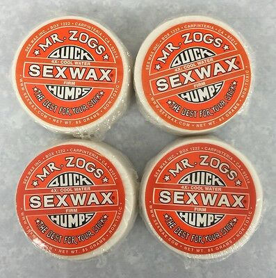 New Mr Zogs Sex Wax Quick Humps - Cool Water - 4x Firm - 85 Grams 4 Pack