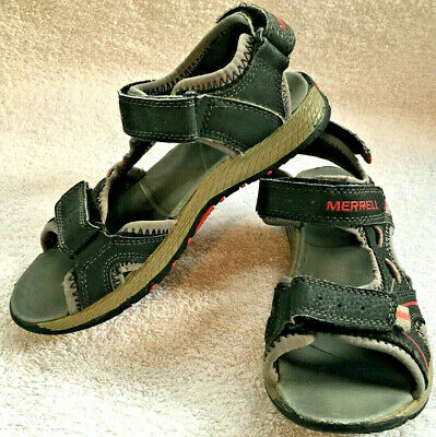 Merrell Boys Panther Sandals Leather w/ Rubber Sole Hiking Sport Black/Red Sz 1 ()