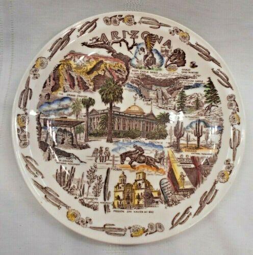 Vtg  Arizona Souvenir Plate 10 1/2 Ceramic Vernon Kilns VGC
