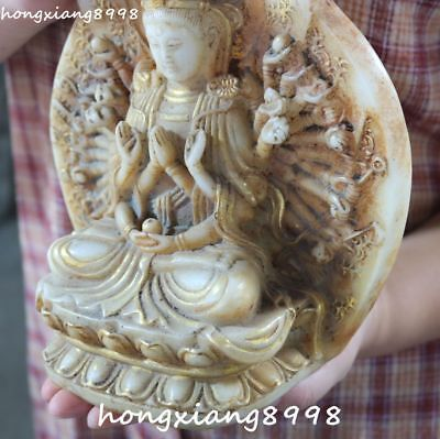 Marked China Old Jade Gilt 1000 Arms Avalokiteshvara of Goddess Kwan-yin Statue