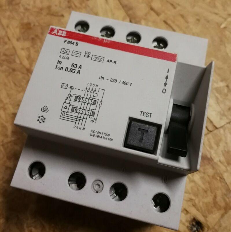 ABB F804B 63A 0,03A FI-Schutzschalter Typ-B 63A 30mA allstrom 2CSF804601R1630