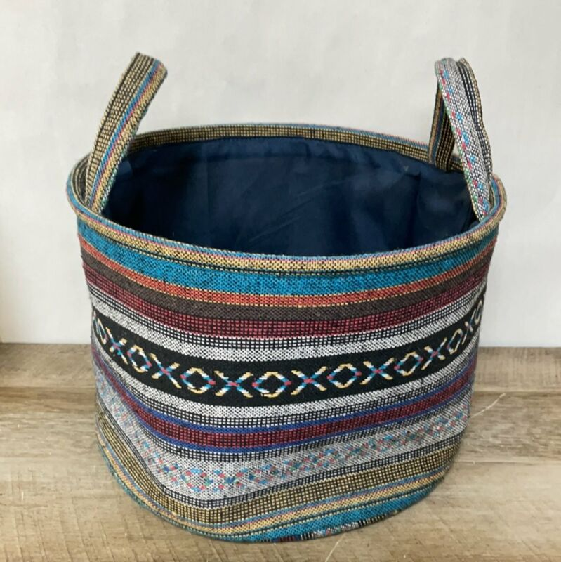 """Round Boho Hippie Indian Ikat Weave Basket Lined w/ Handles Multi Colored 13"""""""