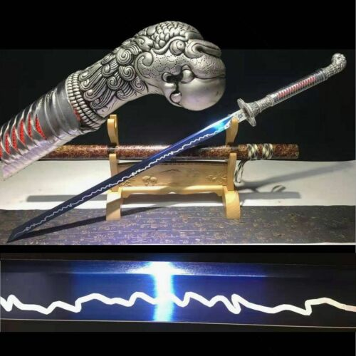 Handmade Chinese Kung Fu Sword Blue Manganese Steel Blade Wushu Dao Sharp Katana