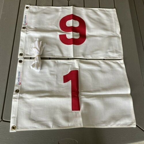 9  Dettra Bull Dog Golf Flags #1-#9 White With Red Numbers 14