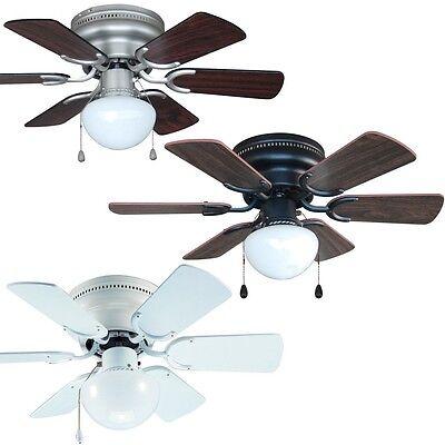 30 Inch Flush Mount Hugger Ceiling Fan w Light Kit Satin Nickel, Bronze or White ()