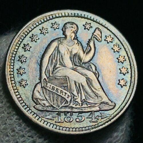 1854 Seated Liberty Half Dime 5C Arrows HIGH DATE Error US Silver Coin CC2391