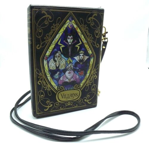 Loungefly Disney Villains Book Shaped Cross Body Clutch Purse Removable Strap