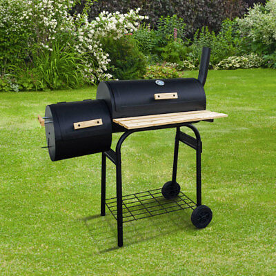BillyOh Smoker BBQ Charcoal Grill Full Drum + Offset Smoker Barbecue Black 116x1