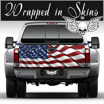 TAILGATE WRAP AMERICAN FLAG Waving USA Graphic Decal Sticker Truck Universal