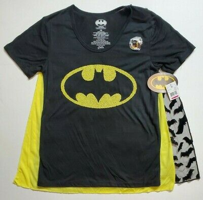 Womens Batman Shirt With Cape (Batman DC Junior Girls Shirt with 2 Detachable Capes XS-XXXL NWT SHIPS)