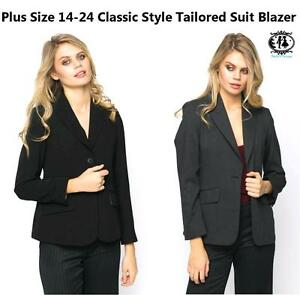 LADIES-LARGE-PLUS-SIZE-14-26-BLACK-GREY-BLAZER-TAILORED-SUIT-COAT-JACKET-FORMAL