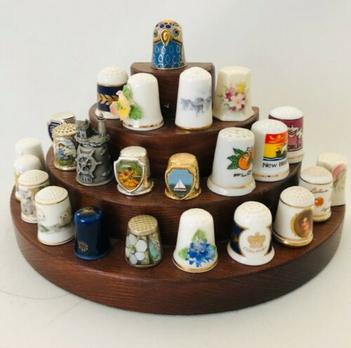 Set of 24 Vintage Metal Enamel and Ceramic Sewing Thimbles